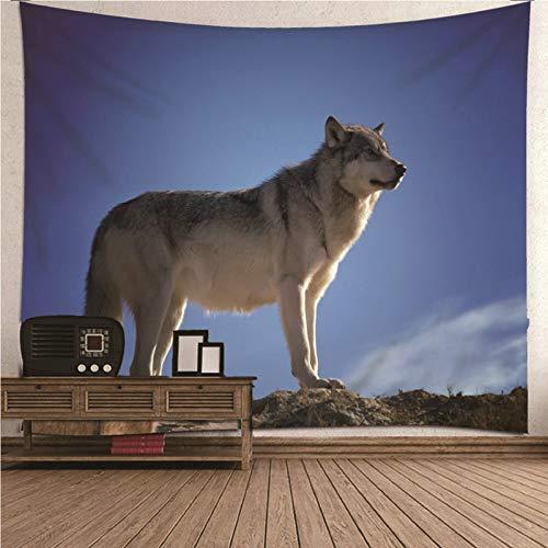 Aimsie Tapiz de pared con diseño de lobo, poliéster, 150 x 130 cm, color azul