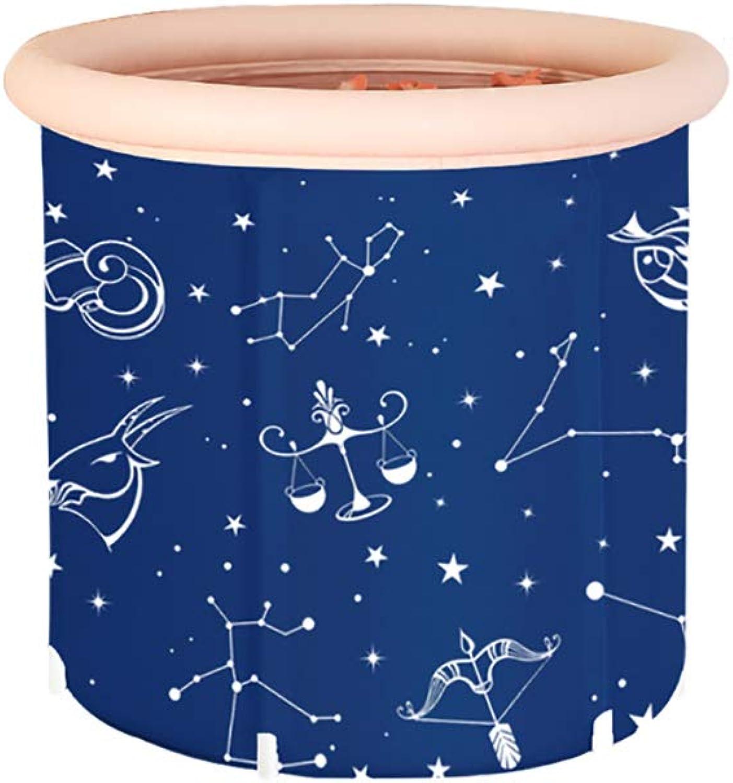 NUBAOgy Free Bubble Bath, Home Thickened Plastic Bathtub, Non-slip Folding And Portable Swimming Pool And Travel, Folding Bathtub, Large Adult Bathtub, bluee, 2 Sizes (Size   L)