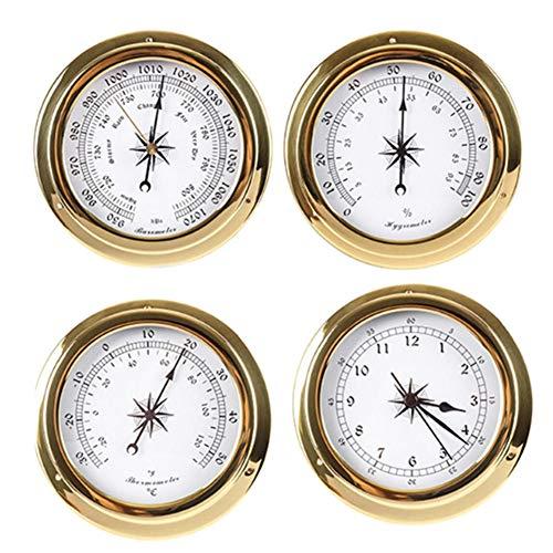 YHDNCG Barómetro, Barómetro montado en la pared, Barómetro de cuatro piezas, Termómetro, Higrómetro, Reloj, Barómetro aneroide, Monitor de presión de aire