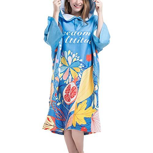 DKzyy Bedrukte poncho met capuchon van microvezel, sneldrogend, licht wetsuit voor wisselende strandvakanties, reizen en zwembad