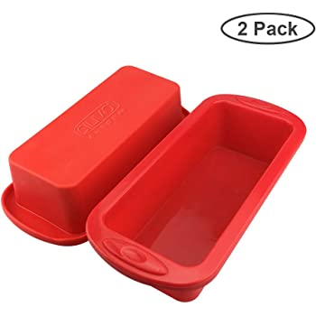"Silicone Bread and Loaf Tins - Set of 2 - SILIVO Silicone Non Stick Baking Moulds Pan for Loaves, Breads, Cakes and Lasagna - 8.9""x3.7""x2.4"""
