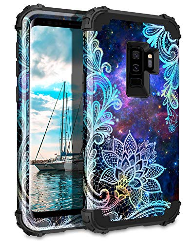 Casetego Compatible with Galaxy S9 Plus Case,Floral Three Layer Heavy Duty Hybrid Sturdy Shockproof Full Body Protective Cover Case for Samsung Galaxy S9 Plus,Mandala