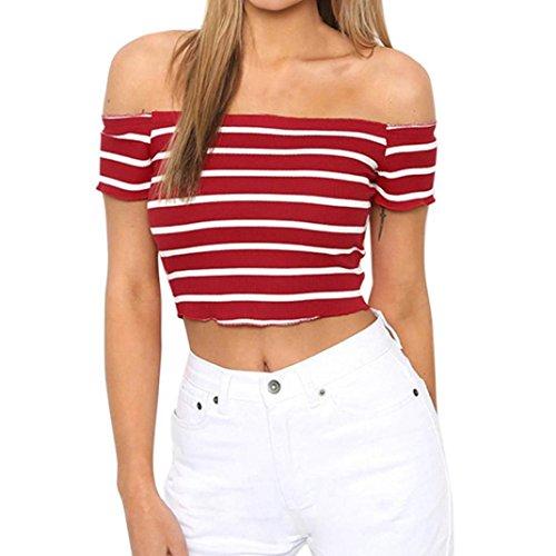 LuckyGirls Damen Schulterfrei Tops Trägerlos Shirt Bandeau Sommer Oberteile Kurzarm Crop Top Streifen Kurzbluse Kurzes Top (Rot, EU-36/CN-S)