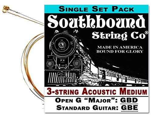Acoustic Medium 3-String Cigar Box Guitar Strings - Open G/Standard