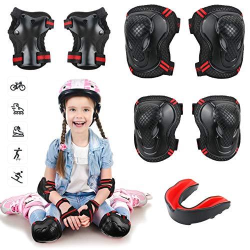 Idefair Juego de Rodilleras para niños, Equipo de protección para niños, Rodilleras para niños y niñas con Juego de Dientes para Patinaje, Ciclismo, Scooter, Deportes al Aire Libre (Negro + Rojo)