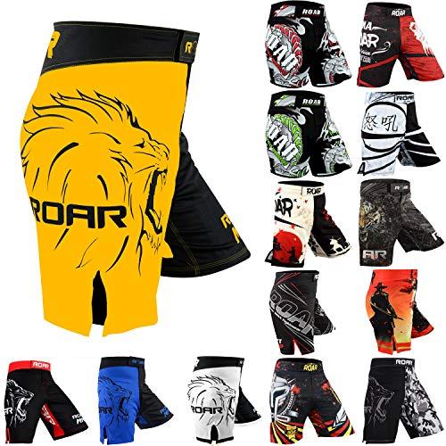 ROAR MMA Fight Shorts Grappling Muay Thai BJJ Crossfit Training Jiu Jitsu No Gi Wear (Medium, Yellow/Black)