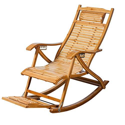 YLCJ Reclining fauteuils schommelstoel schommelstoel schommelstoel in bamboe Eetstoel voor oude mensen Pauzeren schommelstoel in massief hout Lazy stoel Vouwstoel Opvouwbare ligstoelen