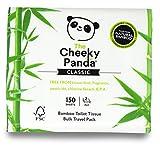 The Cheeky Panda Papel higiénico de viaje de bambú | Paquete de 150 hojas (2 capas) | Hipoalergénico, ecológico, súper suave, fuerte y sostenible