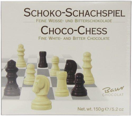 Baur Chocolat Edelvollmilch-Schokoladen Schachspiel Feine Weisse- und Bitterschokolade, 150 g