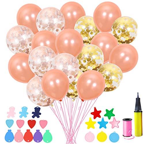 EQLEF Konfetti Luftballons, 12 Zoll Premium Latex Gold/Rose Gold Luftballons mit niedlichen Ballongewichten für Hochzeit Geburtstag Verlobungsfeier (40 Stücke)