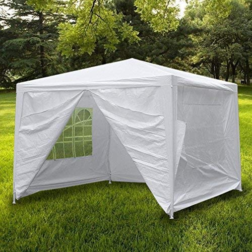 Smartxchoices 10' X 10' Outdoor White Waterproof Wedding Gazebo Canopy Tent with 4 Sidewalls and Windows Heavy Duty Tent for Party Events Beach BBQ Pavilion Patio Tent