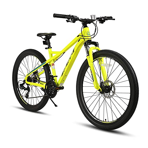 Hiland 27.5 Inch Mountain Bike City Bicycle 21 Speed with Suspension Fork Aluminum Frame Yellow