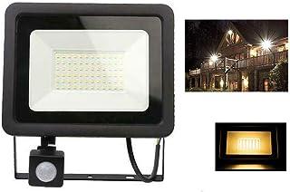 LED Security Lights with RIR Motion Sensor - 50W 5000Lumen 3000K Warm White Super Bright Floodlights Outdoor, IP66 Waterpr...