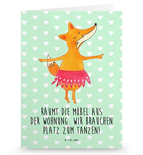 Mr. & Mrs. Panda Grußkarte Fuchs Ballerina - 100% handmade in Norddeutschland - Gutscheinkarte, Ballerina, Karte, Tanzen, Klappkarte, Gutschein, Einladung, Ballett, Füchsin, Füchse, Fuchs, Geburtstag