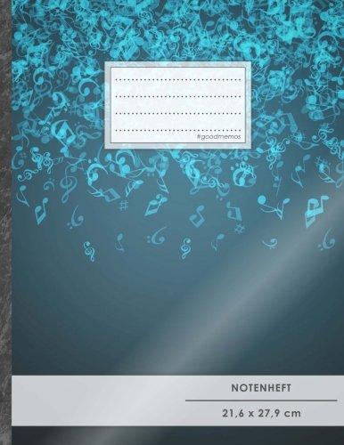 """Notenheft: DIN A4 • 48 Seiten, 24 Blatt, 12 Systeme, """"Notenhimmel"""" • Original #GoodMemos Schulheft • Mit Inhaltsverzeichnis und Seitenzahlen, Noten-Lineatur 14"""