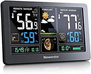Newentor Weather Station Wireless Indoor Outdoor Thermometer, Color Display Digital Weather Thermometer with Atomic Clock,...
