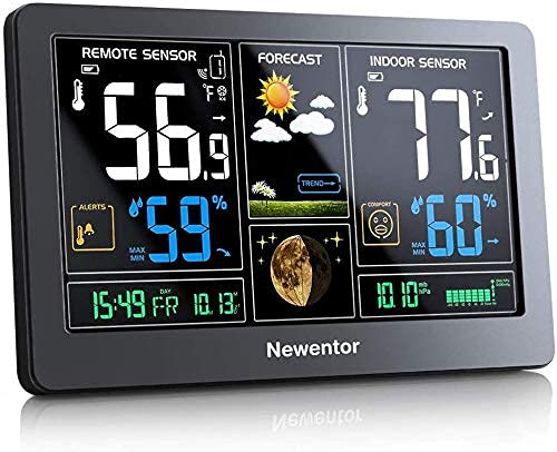 Newentor Weather Station Wireless Indoor Outdoor Thermometer, Color Display Digital Weather Thermometer with Atomic Clock, Forecast Station with...