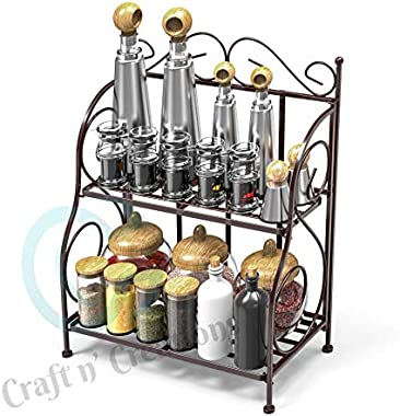 Craft N' Creations Foldable Wrought Iron Spice Rack Kitchen/Bathroom Countertop Storage Organiz