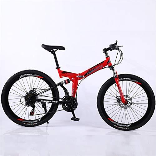 Hörsein Bicicleta de montaña Plegable de 24 Pulgadas 26 Pulgadas Bicicleta Estudiante Bicicleta de montaña Velocidad Variable Estudiante Adulto Cola Suave,B,26 Inch 24 Speed