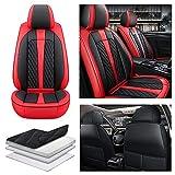 Maibenbao Fundas para Asiento de Coche para Peugeot 206 206CC 207 207CC 307 307SW 308 308CC 308GT Cuero de PU,Compatible con airbag,Delanteros de Coche Estándar 2 Piezas(Negro+Rojo)