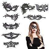 BAMZOK Paquete de 8 máscaras de encaje para ojos conjunto de máscaras de disfraces negras máscara de ojos misteriosa para baile de máscaras carnaval maquillaje regalos de fiesta