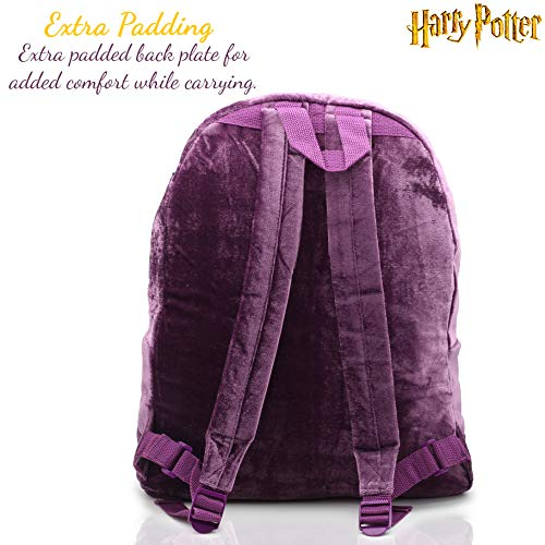 Harry-Potter-Official-Product-Large-Velvet-Women-Backpack-School-Bag-Hogwarts-Marauders-Map-Ladies-Design-Luxurious-Soft-Purple-and-Gold-Rucksack-for-Adult-and-Teenagers-Gift-Idea-for-Fans