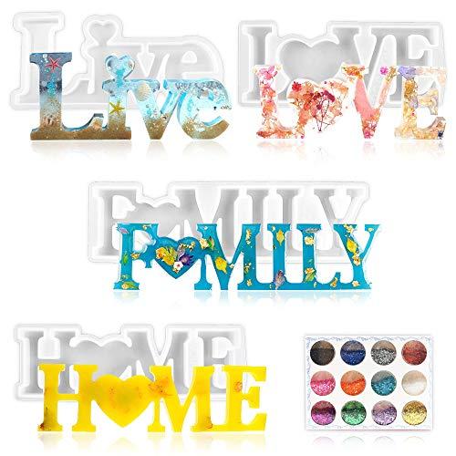 Stampo in silicone a forma di lettere in resina epossidica Love/Home/Family/Live in base alle lettere in resina epossidica, stampo fai da te, decorazione da tavolo per San Valentino, Natale