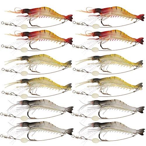 Shelure Soft Lures Shrimp Bait Set Kit Lots For Freshwater Trout Bass Salmon