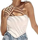 Women Push Up Y2K Bustiers Corsets Crop Top Bra Off Shoulder Spaghetti Strap Tank Top Vest Clubwear Outwear (White, S)