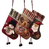 Medias de Navidad Bolsa de Regalo, 3 Pcs Christmas Stocking, Calcetín de Decoraciones de Navidad, Medias de Regalo para el árbol de Navidad Chimenea Decoración Colgante Calcetín