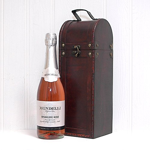 750ml Mondelli Sparkling Rosé Wine in Wooden Antique Style Wine Chest by Fine Food Store - Fathers Day,Christmas,Birthday,Corporate,Wedding,Anniversary,Gifts