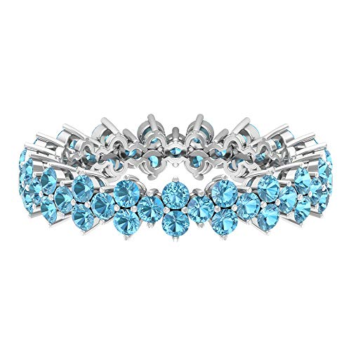 Rosec Jewels 14 quilates oro blanco redonda Blue Aquamarine