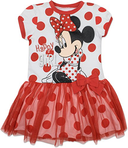 Disney Toddler Girls' Minnie Mouse Tulle Dress, White with Red Polka Dots (4T)