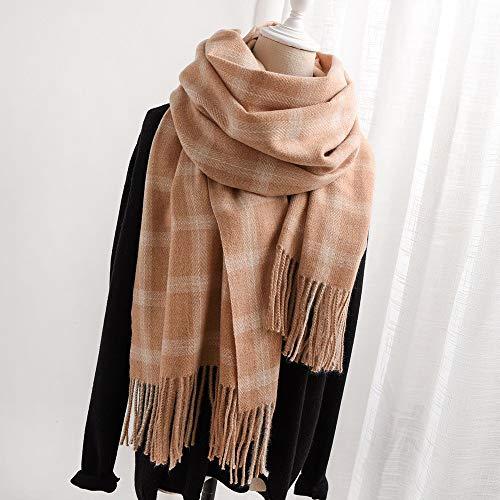 Modieuze sjaal voor dames herfst en winter, kasjmier-imitatie, Schotse ruiten, dik, warm, aan beide zijden