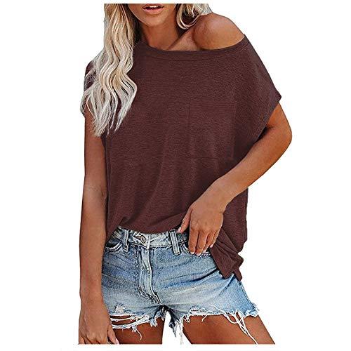 Bluse Tops T-Shirt Frauen Lässig lose einfarbig Brusttasche Kurzarm (M,Braun)