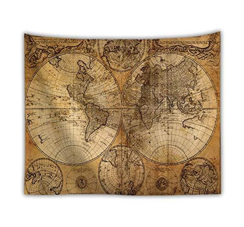 bjyxszd Obras de Arte y Material Decorativo Tapiz de poliéster de Mapa del Mundo montado en la Pared, tapices de mapas Coloridos, Toallas de Playa, Mantas, colchonetas de Yoga-3 200X150cm