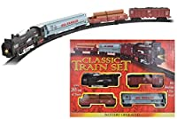A classic train and track set, ideal for all train lovers, with a traditional locomotive train style design. Ideal for small scene displays or as a first introduction to the world of trains. Complete with a working headlight, realistic train engine s...