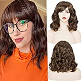 """S-noilite Short Bob Wigs for Women Heat Resist 14"""" Culry Wavy Synthetic Wig with Bangs Chestunt Brown Cosplay Party Bob Cut Hair Wigs Fancy Dress Halloween"""