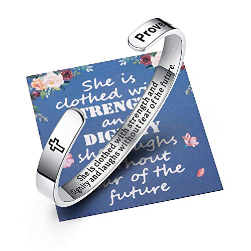 Ldurian Christian Graduation Gifts for Her, 2021 Bracelet, College Senior Bangle Cuff, Inspirational Gift for High School Grad, She is Clothed with Strength (Class of 2021 Cap Box & Bag & Card)