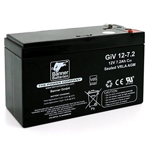 Banner Batterie Stand by Bull 12 Volt 7,2Ah Typ GiV 12-7.2 Akku Notstrombatterie Brandmeldeanlage Alarmanlage