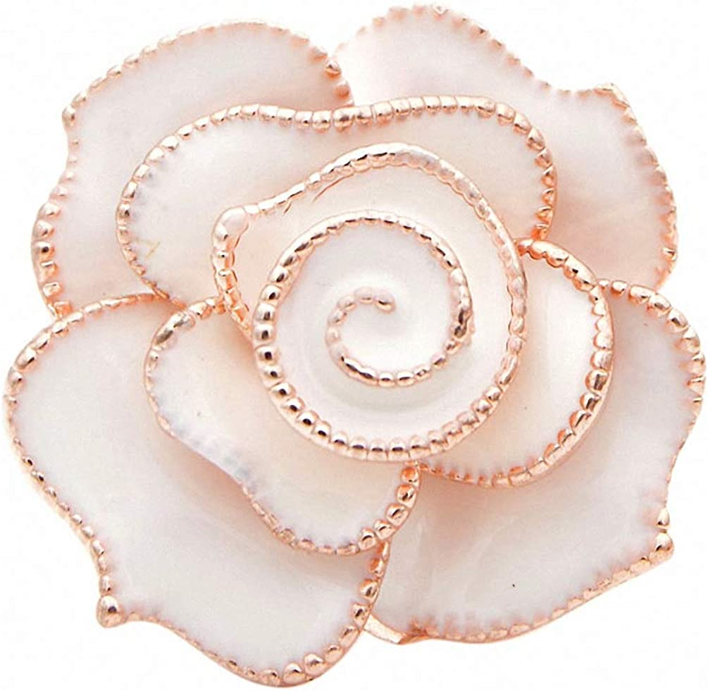 Lakke 3 Colors Available Enamel Flower Brooches Beautiful Rose Brooch Pin Wedding Accessories Fashion Jewelry