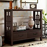 P PURLOVE Sofa Table Console Table for Entryway Wood Table with 2 Storage Drawers for Living Room Hallway Bedroom (Espresso)