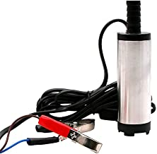 Sydien Stainless Steel Electric Submersible Oil Diesel Fuel Transfer Water Pump with On/Off Switch(DC 12V Silver)