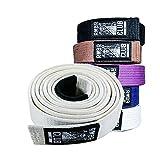 RMBR Club 100% Hemp Jiu Jitsu Gi Belt | BJJ Sized A1, A2, A3, A4, A5 for Men and Women (White, A3)