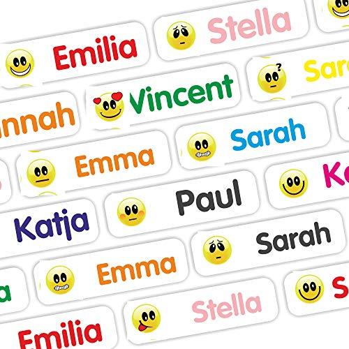 INDIGOS UG Etiquetas engomadas del nombre Spezial - 35-105 piezas - 35x10mm - Emoji - blanco - Etiquetas para ropa - niños, escuela y jardín de infantes - bolígrafos, estuches de lápices