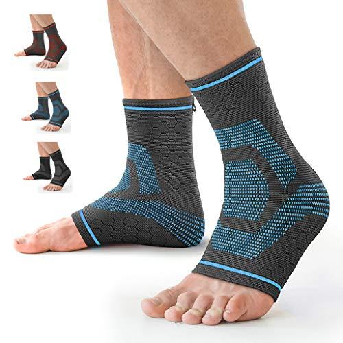 Awenia Fussbandage Fußbandage Fußgelenk Fersensporn Bandage Knöchel Laufen Sport Bandage Sprunggelenk für Männer Damen,Blau L