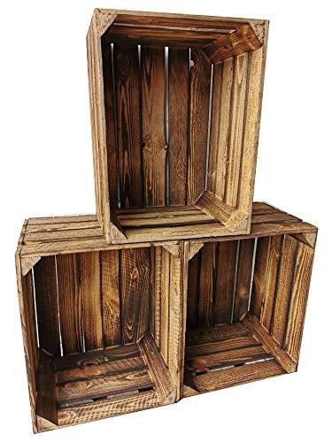 Set van 3 massieve en stabiele fruitkisten/houten kisten/wijnkisten - 50 x 40 x 30 cm gevlamd/natuur- Leuke decoratie voor binnen en buiten