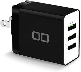 CIO USB コンセント 急速充電器 QC3.0 iPhone スマホ ACアダプター 3ポート 30W ipad Android 急速 携帯充電器 Galaxy Xperia Huawei タブレット アイフォン (ブラック)