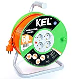 KEL -ELECTRIC - Tambor de cable para jardín con 50 m de PVC - Cable 3 x 1,5 mm², 230 V/16 A - Cable alargador de plástico con 4 enchufes de protección IP20