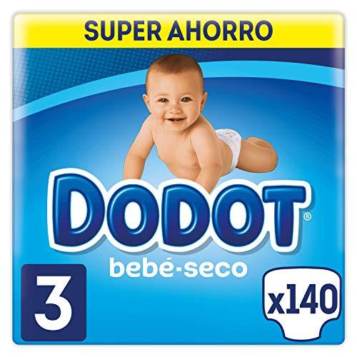 Dodot Bebé-Seco Pañales Talla 3, 140 Pañales, con Canales de Aire